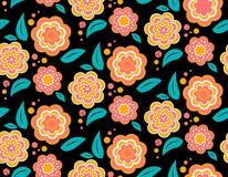 Bezszwowy wiosna kwiatu wzór na czarnym tle Zdjęcia Stock