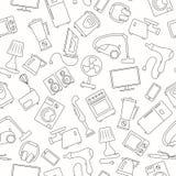 Bezszwowy wizerunek z proste konturowe ikony dla gospodarstw domowych urządzeń i elektronika, ciemny kontur na lekkim tle Fotografia Royalty Free