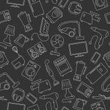 Bezszwowy wizerunek z proste konturowe ikony dla gospodarstw domowych urządzeń i elektronika, lekki kontur na ciemnym tle Zdjęcia Royalty Free