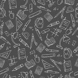 Bezszwowy wizerunek z proste konturowe ikony na temat szkole, jaskrawy kontur na ciemnym tle Obraz Stock