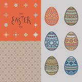 Bezszwowy wzór, literowanie i kolorowe Wielkanocnego jajka wektorowe płaskie ikony, malowaliśmy w tradycyjnym stylu ilustracja wektor