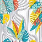 Bezszwowy wzór tropikalni liście i fala ilustracji
