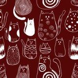 Bezszwowy wzór z ślicznymi doodle kotami Konturu zwierzęcia sztuka ilustracja wektor