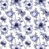 Bezszwowy wzór z akwarela anemonu białymi kwiatami Wiosna kwiecisty projekt dla ślubnego zaproszenia fotografia royalty free