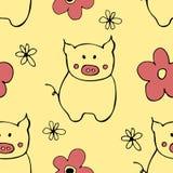 Bezszwowy wzór z konturów kwiatami i świniami ilustracji