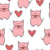 Bezszwowy wzór z konturu białym sercem i świnią Symbol Nowi 2019 rok ilustracji
