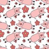 Bezszwowy wzór z kreskówka kwiatami i świnią ilustracja symbolu nowy rok 2019 royalty ilustracja