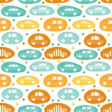 Bezszwowy wzór z samochodów majcherami ilustracji