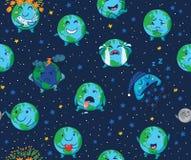 Bezszwowy wzór śliczne kreskówek kule ziemskie z różnymi emocjami Obraz Stock