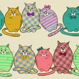 Bezszwowy wzór śmieszni grubi koty Obrazy Stock