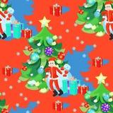 Bezszwowy wzór Święty Mikołaj i choinka w nowy rok Obraz Royalty Free
