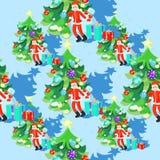 Bezszwowy wzór Święty Mikołaj i fishbone w nowy rok piłkach Fotografia Royalty Free