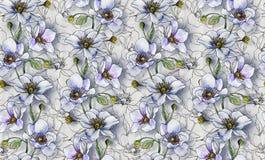 Bezszwowy wzór, światło kwitnie na lekkim tle, tapeta ilustracja wektor