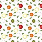 Bezszwowy wzór świeży warzywo pokrajać Czerwonego tomat, zielony ogórek, koloru żółtego pieprz, biała cebula ilustracja wektor