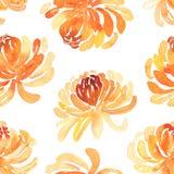 Bezszwowy wzór żółci chryzantema kwiaty Obraz Royalty Free