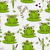 Bezszwowy wzór - żaby Obrazy Royalty Free