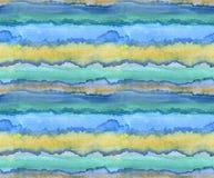 Bezszwowy wzór - absract akwareli ręka malował ilustrację jaskrawi błękita, koloru żółtego i lazur paski, fotografia stock
