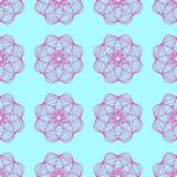 Bezszwowy wzór abstrakcjonistyczne poligonalne łamać różowe linie postacie na błękitnym tle, ilustracja Zdjęcie Stock