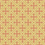 Bezszwowy wzór abstrakcjonistyczni czerwień okręgi na zieleni tle dla tkanin, tapet, tablecloths, druków i projektów, ilustracja wektor