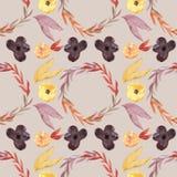 Bezszwowy wzór - akwarela malował jesień kwiatów wzór Zdjęcie Royalty Free