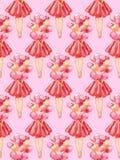 Bezszwowy wzór akwareli ilustracja beztwarzowa dziewczyna trzyma wiązkę alloons w czerwonej sukni na różowym tle ilustracja wektor