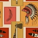 Bezszwowy wzór Amerykańscy indianów symbole Zdjęcia Royalty Free