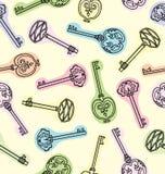 Bezszwowy wzór antykwarscy klucze ilustracji