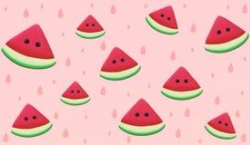 Bezszwowy wzór arbuzów owocowi kawałki Zdjęcie Stock