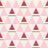 Bezszwowy wzór arbuzów plasterki w geometrycznym stylu Obraz Royalty Free