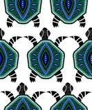 Bezszwowy wzór błękitni żółwie Fotografia Royalty Free