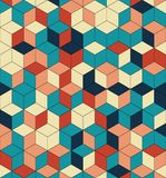 Bezszwowy wzór barwioni sześciany Niekończący się stubarwny kubiczny tło Sześcianu wzór Sześcianu wektor Sześcianu tło morze abst zdjęcia stock