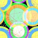 Bezszwowy wzór barwiony natal astrologiczne mapy Vec Fotografia Stock
