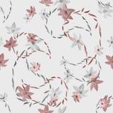 Bezszwowy wzór beż i kwiaty z konturami Paisley na świetle - szary tło akwarela Obrazy Royalty Free