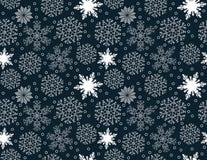 Bezszwowy wzór biali płatki śniegu na błękitnym tle Zdjęcie Royalty Free