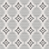 Bezszwowy wzór biel okręgi z konturu i szarość diamentami Obrazy Stock