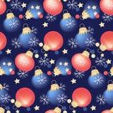 Bezszwowy wzór, Bożenarodzeniowych dekoracji Bożenarodzeniowych piłek wakacyjny projekt royalty ilustracja