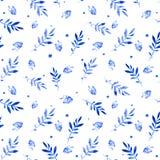 Bezszwowy wzór borówka i liście Obrazy Stock