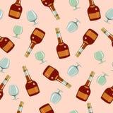 Bezszwowy wzór butelkuje Ñ  szkła i ognac ilustracja wektor