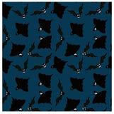 Bezszwowy wzór czarni emocjonalni nietoperze i duchy na zmroku - błękitny tło Fotografia Stock