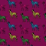 Bezszwowy wzór, czarnych psów sylwetki z kolor kropkami, Dalmat ilustracja wektor