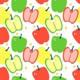 Bezszwowy wzór czerwień, kolor żółty i zielony dzwonkowy pieprz z capsicum -, ilustracji