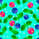 Bezszwowy wzór czerwone i błękitne jagody Obrazy Stock