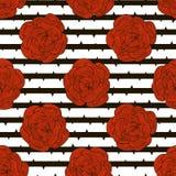 Bezszwowy wzór czerwone róże na pasiastym tle Obraz Royalty Free