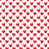 Bezszwowy wz?r czerwone serce postacie na bia?ym tle dla tkanin, tapet, tablecloths, druk?w i projekt?w, EPS kartoteka royalty ilustracja