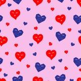 Bezszwowy wzór czerwoni i błękitni serca royalty ilustracja