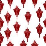 Bezszwowy wzór czerwoni lampiony Obrazy Royalty Free