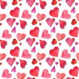 Bezszwowy wzór czerwony akwarela i różowi serca odizolowywający na t zdjęcie stock
