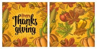 Bezszwowy wzór dla dziękczynienie dnia Rocznika rytownictwo royalty ilustracja
