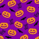 Bezszwowy wzór dla Halloween z baniami i nietoperzami Obraz Stock