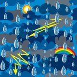 Bezszwowy wzór dla tkaniny przedstawia niebo zakrywającego z chmurami, deszczem i błyskawicą, ilustracja wektor